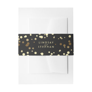 Gold and Black Elegant Confetti Dots Wedding Invitation Belly Band