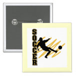 Gold and Black Female Soccer Player 15 Cm Square Badge
