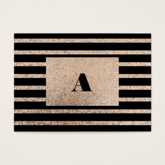 Gold and Black Glittery Stripes Business Card