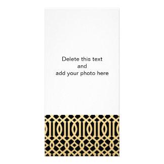 Gold and Black Modern Trellis Pattern Photo Card