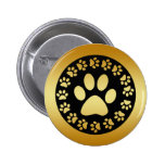 GOLD AND BLACK PAW PRINTS PINS