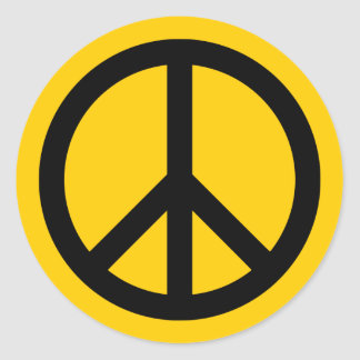 Gold and Black Peace Classic Round Sticker