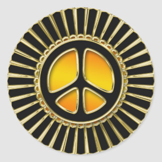 Gold and Black Peace Sign Round Stickers