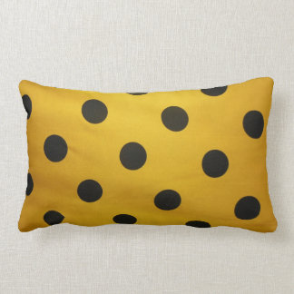 Gold and Black Polka Dot Lumbar Pillow