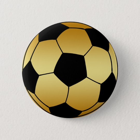 GOLD AND BLACK SOCCER BALL 6 CM ROUND BADGE