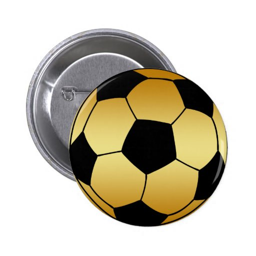 GOLD AND BLACK SOCCER BALL BUTTONS