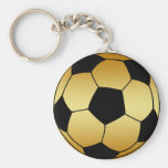 GOLD AND BLACK SOCCER BALL KEY CHAIN