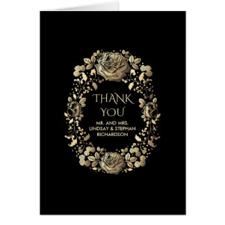 Gold and Black Vintage Floral Wedding Thank You Note Card