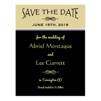 Gold and Black Wedding Save the Date Postcard