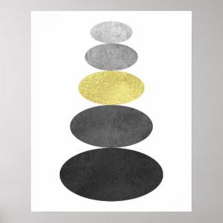 Gold and black zen pebble art print Modern minimal