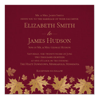 Gold and Burgundy Fall Leaves Wedding Invitation