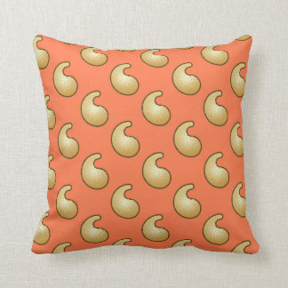 Gold and coral orange paisley pillows