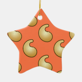 Gold and coral orange paisley christmas ornaments