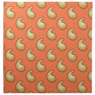 Gold and coral orange paisley napkin