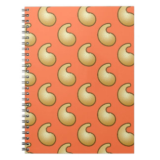 Gold and coral orange paisley note books