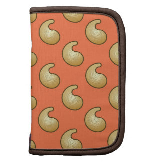 Gold and coral orange paisley organizers