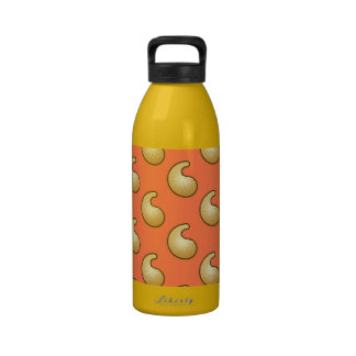 Gold and coral orange paisley water bottles