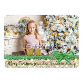 Gold and Green Custom Family Christmas Card