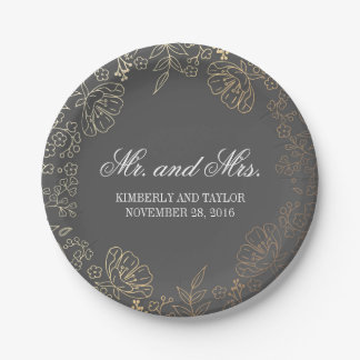 Gold and Grey Floral Wreath Vintage Wedding 7 Inch Paper Plate