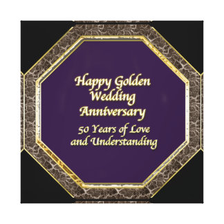 Gold and Marble Happy Wedding Anniversary Canvas