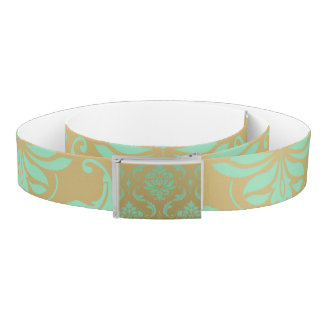 Gold and Mint Classic Damask Belt