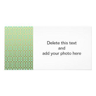 Gold and Mint Modern Trellis Pattern Photo Card