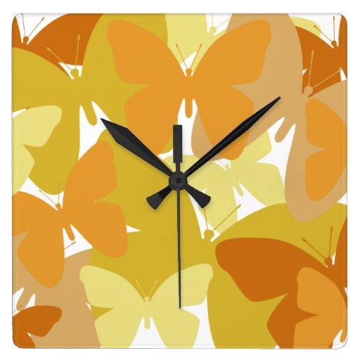 Gold and orange butterflies design, clock