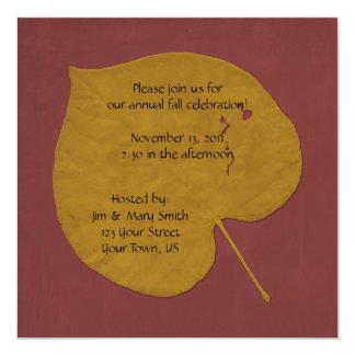 """Gold and Orange Fall Celebration Invitation 5.25"""" Square Invitation Card"""