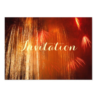 Gold And Orange Fireworks Sparkles Card