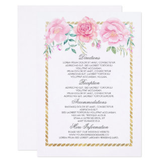 Gold and Pink Flowers Wedding Information Insert Card