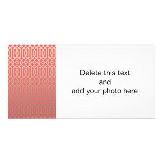 Gold and Pink Modern Trellis Pattern Photo Card