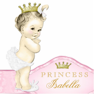 Gold and Pink Princess Baby Shower Standing Photo Sculpture