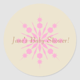 Gold and Pink Snowflake Sticker