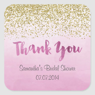 Gold and Pink Thank You Stickers