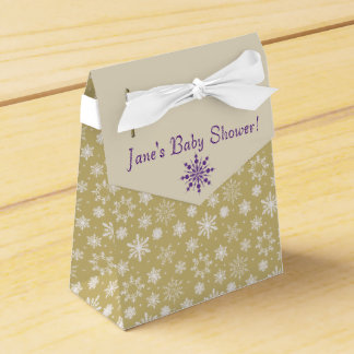 Gold and Purple Snowflake Baby Shower Favor Box Favour Box