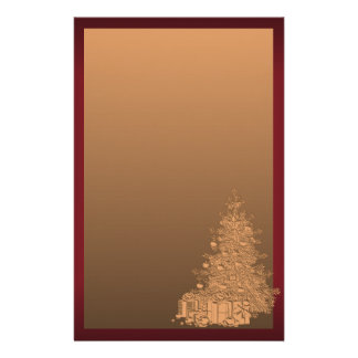 Gold and Red Christmas Tree Customized Stationery