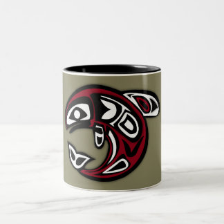 Gold and Red Tribal Dolphin Pattern Two-Tone Coffee Mug