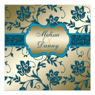 Gold and Teal FAUX Glitter Floral Engagement Party Card