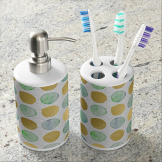 Gold and teal painted dots bath set