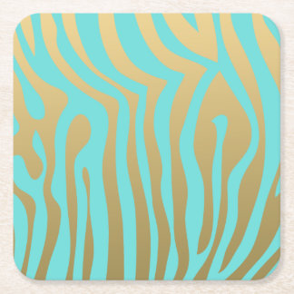 Gold and Tiffany Blue Zebra Stripes Pattern Square Paper Coaster