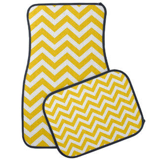Gold and White Chevron Pattern Floor Mat