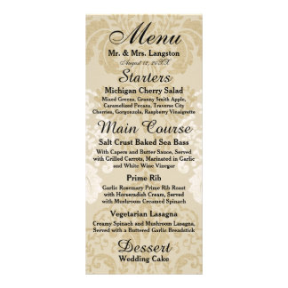 Gold and White Damask Reception Menu Full Color Rack Card