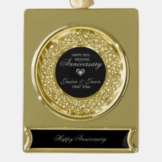 Gold And White Diamonds 50th Anniversary Gold Plated Banner Ornament
