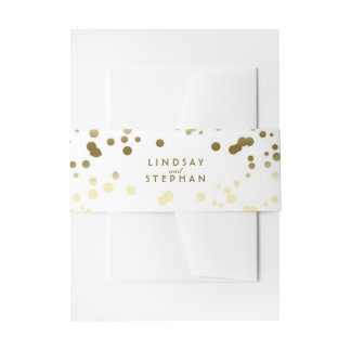 Gold and White Elegant Confetti Dots Wedding Invitation Belly Band