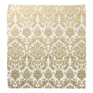 Gold and White Elegant Damask Pattern Kerchief