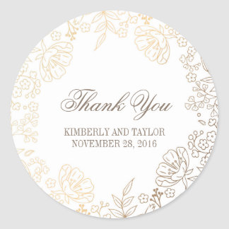 Gold and White Floral Vintage Wedding Thank You Round Sticker