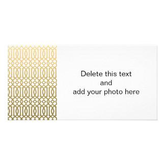 Gold and White Modern Trellis Pattern Photo Card