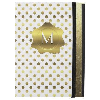 Gold and White Polka Dot Monogram iPad Pro Case