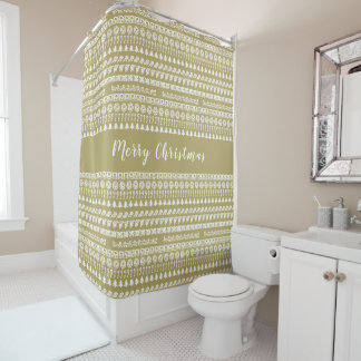Gold and White Rows Christmas Picture Font Pattern Shower Curtain