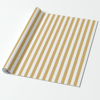 Gold and White Stripes Wrapping Paper